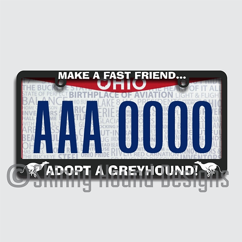 "Black Plastic License Plate Frame ""Make a Fast Friend... Adopt a Greyhound!"""