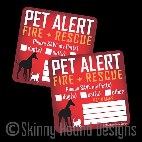 Pet Alert Fire + Rescue Printed Vinyl Decals