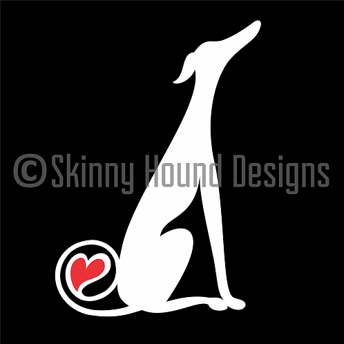 NEW! Greyhound Sitting w/t Heart in Tail Decal