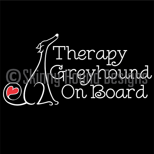"Greyhound Sitting w/t Heart in Tail Decal  ""Therapy Greyhound on Board"""
