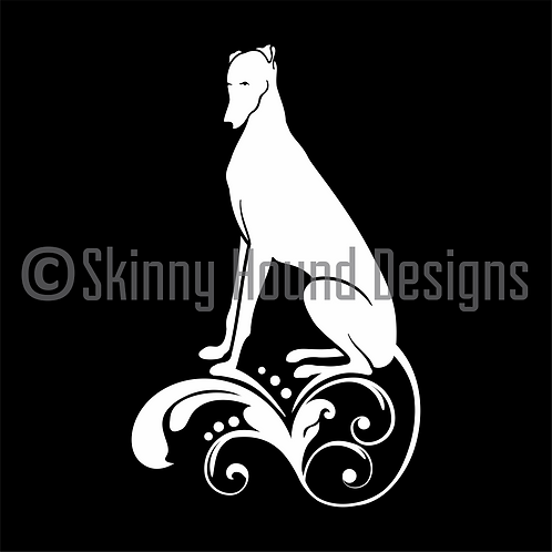 Decorative Greyhound Sitting Decal