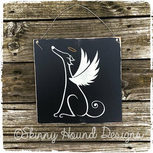 Greyhound Angel Handmade Wood Sign