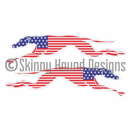Stars and Stripes Running Greyhound Printed Vinyl Decals