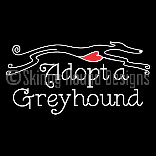"""Adopt a Greyhound"" Greyhound Running w/t Heart in Chest Decal"