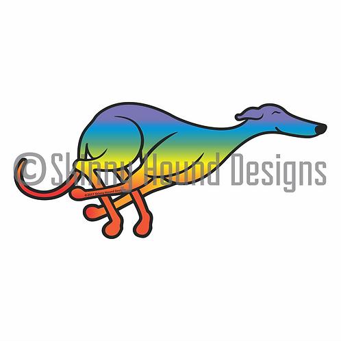Rainbow Tucked Running Greyhound Printed Vinyl Decal