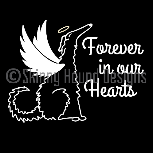 """Forever in Our Hearts"" Borzoi Angel Decal"