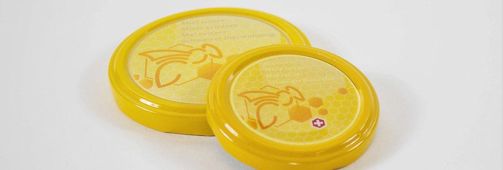 Schweizer Honigglas Deckel gelb/Logo
