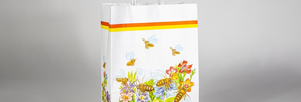 Tasche Papier mit Bienen und Blumen, weiss