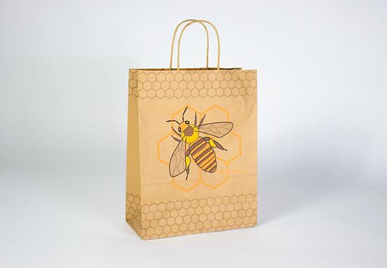Papiertragtasche braun mit Biene und Wabenmuster