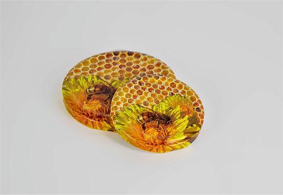 Honigglas Deckel Biene mit Löwenzahn
