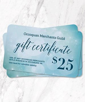 $25 Occoquan Merchants Guild Gift Certificate