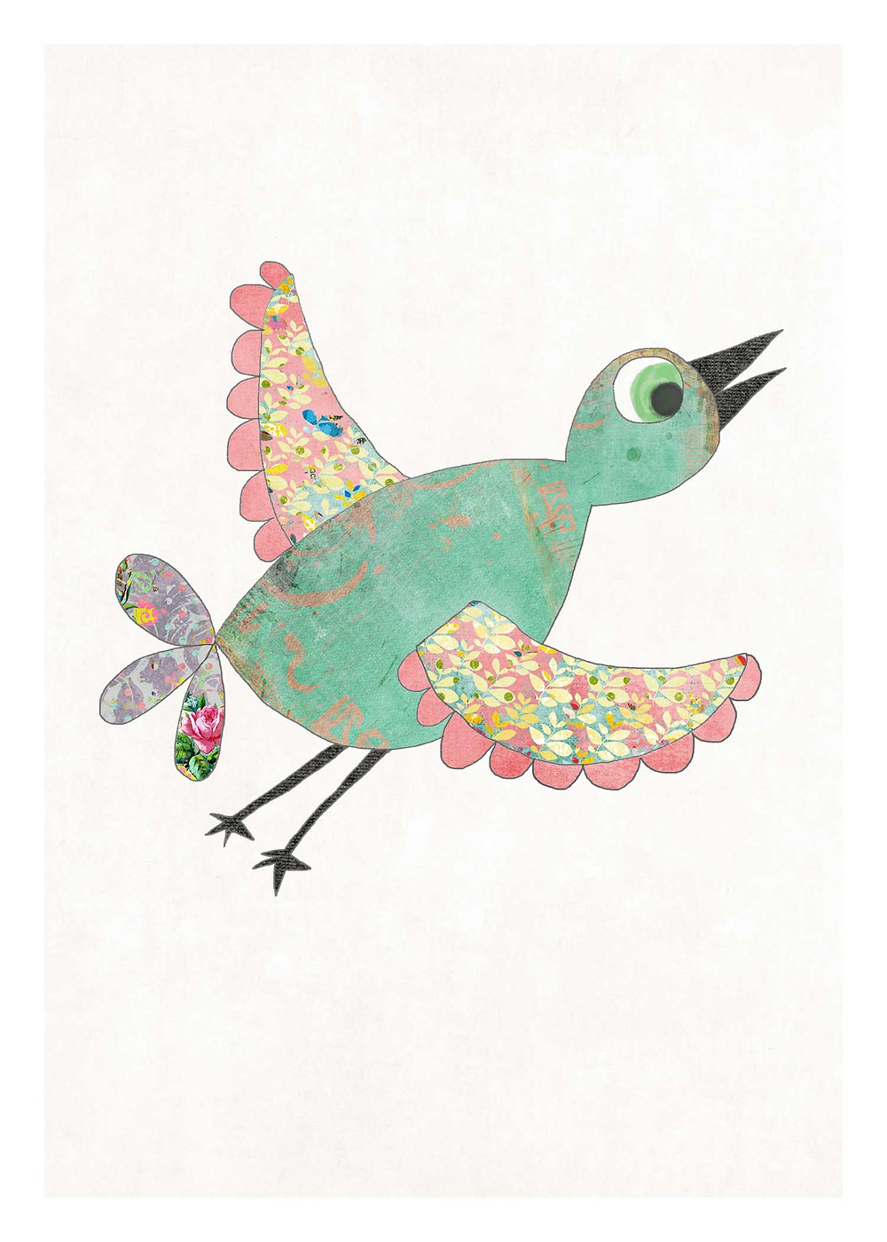 Hand-Drawn Vintage Bird Art Print