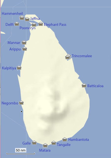 Sri Lanka Forts map