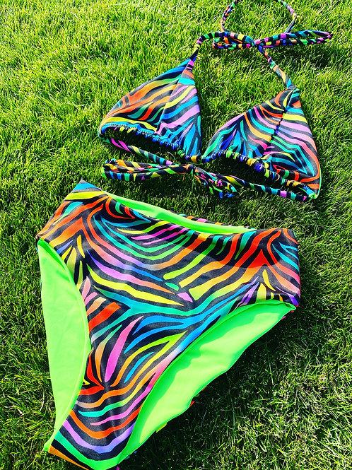 Multi Zebra Triangle & High Waisted Bottoms