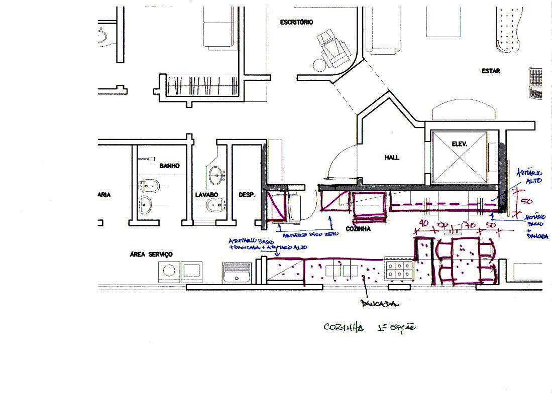 apartamento meire. cozinha estudo