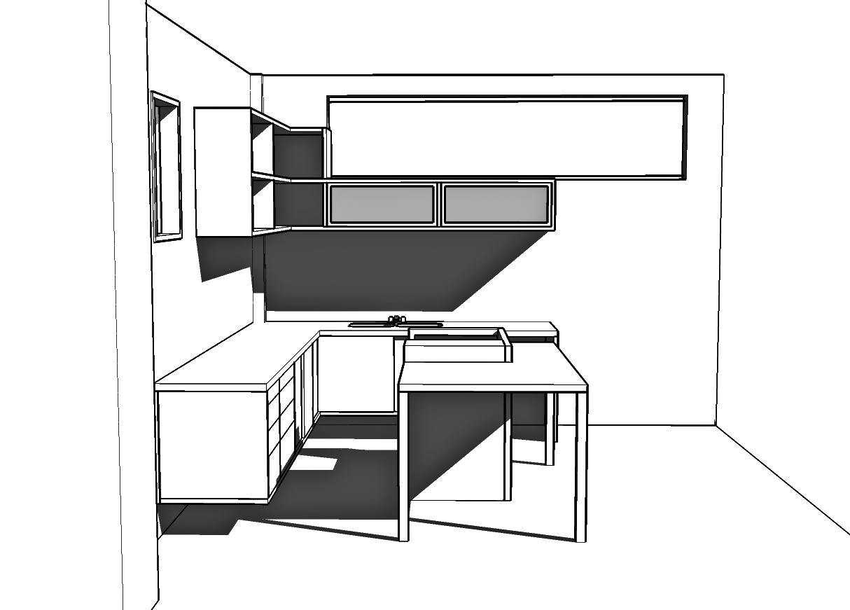 3D cozinha. estudo mobiliário
