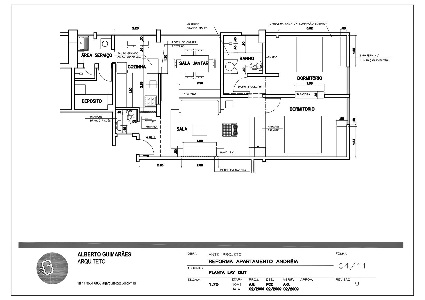 apartamento márcia. lay out
