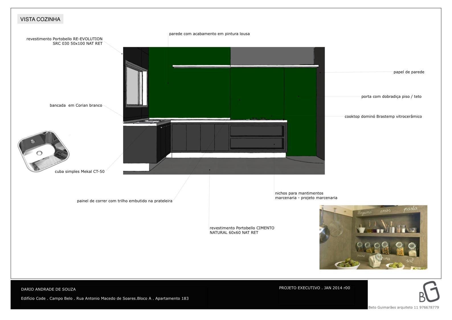 especificação materiais cozinha