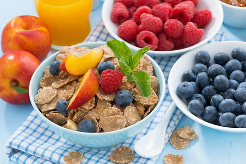 Bran flakes, blueberries and raspberries