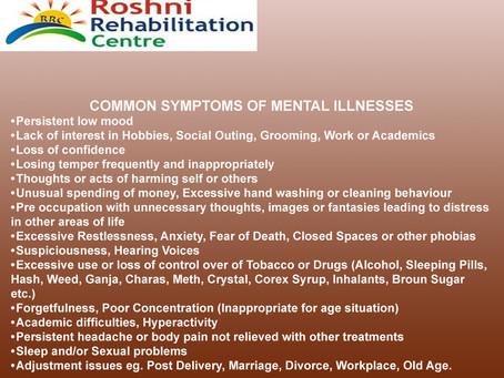 COMMON SYMPTOMS OF MENTAL ILLNESSES