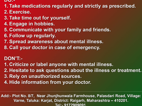 DO'S AND DON'TS FOR MENTAL ILLNESS.