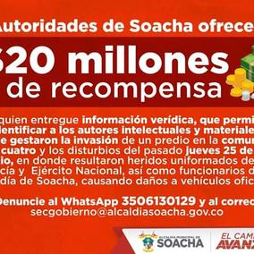 Toque de queda y recompensa por lo ocurrido en la Ciudadela Sucre