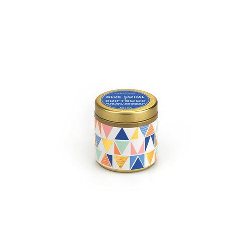 BLUE CORAL + FRIFTWOOD, компактная travel-свеча