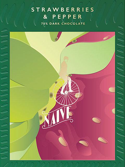 65% тёмный шоколад с клубникой и кайенским перцем.