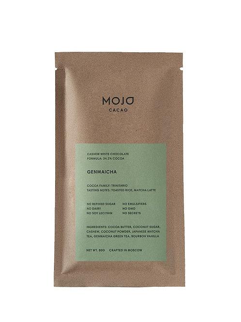 Genmaicha. Белый шоколад Mojo cacao с зеленым чаем и обжаренным рисом
