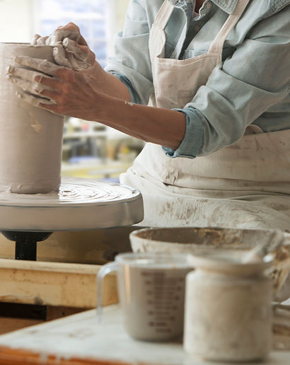 Working on a Pottery Wheel