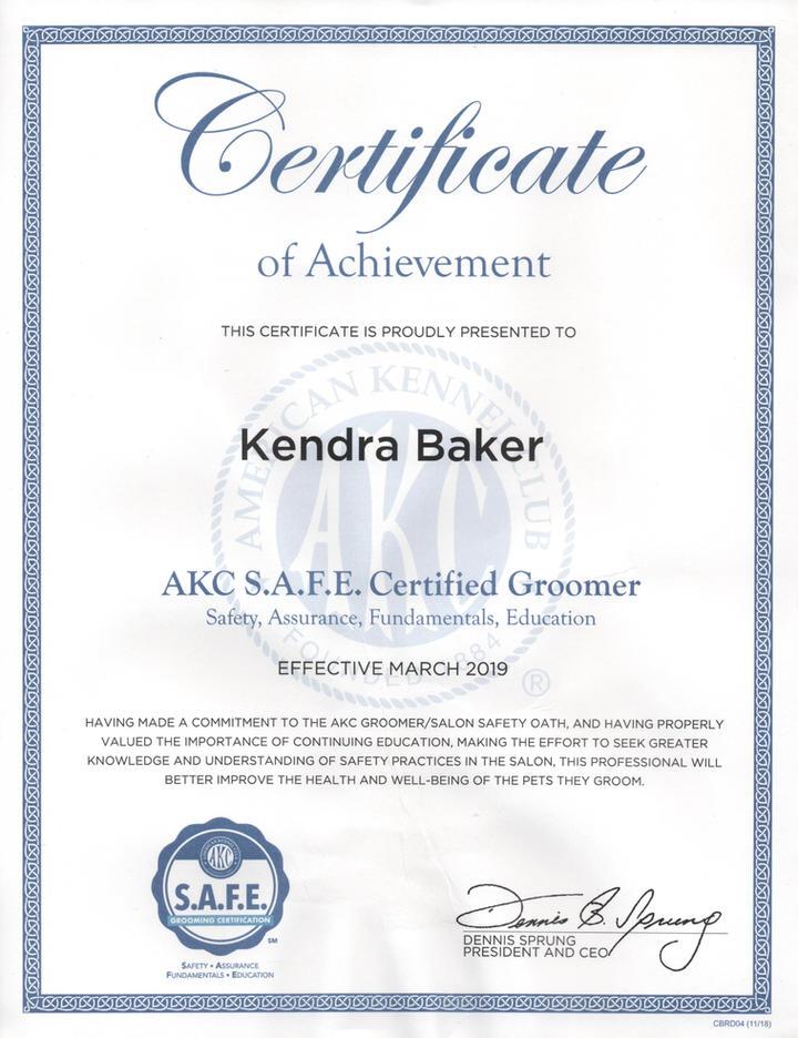 AKC S.A.F.E. Certificate