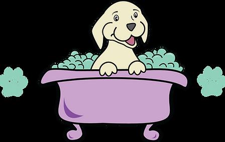 Give a Dog a bath Logo dog and prints on