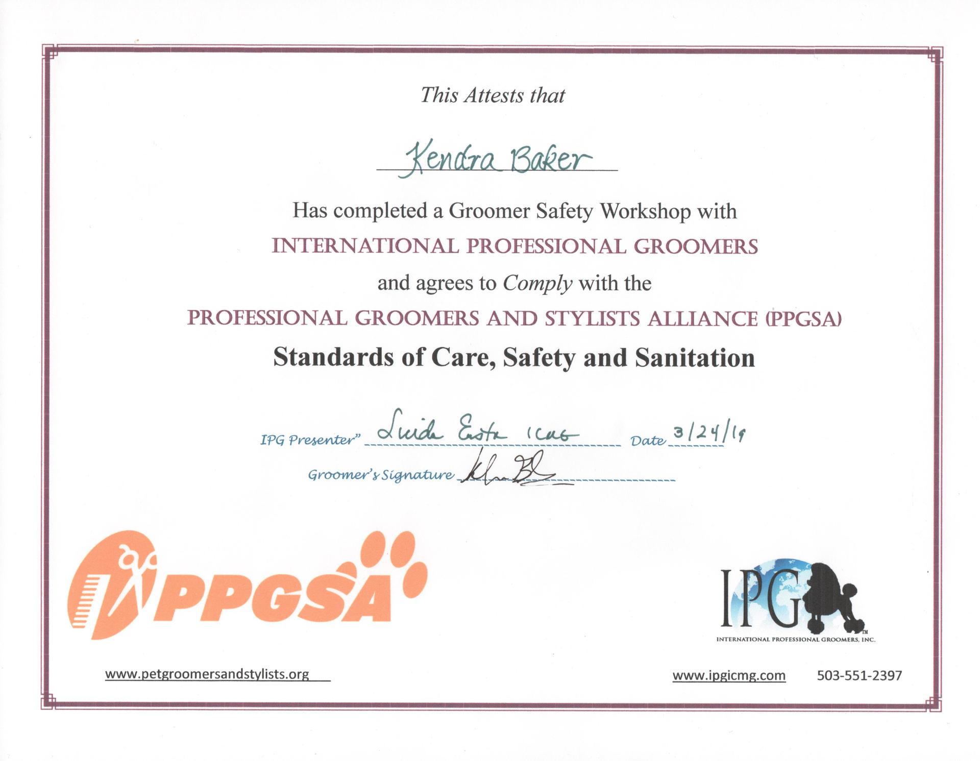 International Professional Groomers Certificate