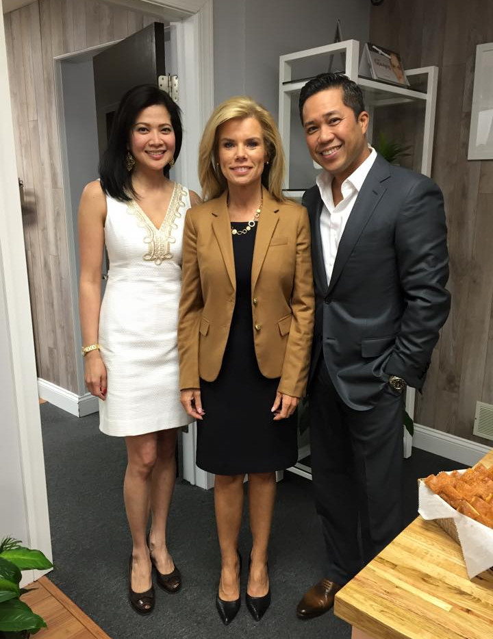 Drs. Maria and Fred Poblete with Mayor Kelly Yaede, 2016
