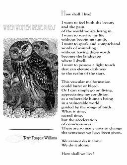 Terry Tempest Williams Letterpress Broadside