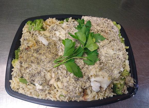 Filet de merlu sauce crémeuse aux épinards