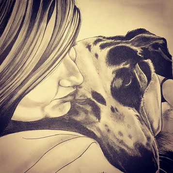 """$65 Pet Portrait - Black and White Pencil Drawing Including 2nd Subject no larger than 10""""x10"""""""