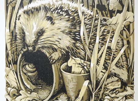 Hedgehog reduction linocut