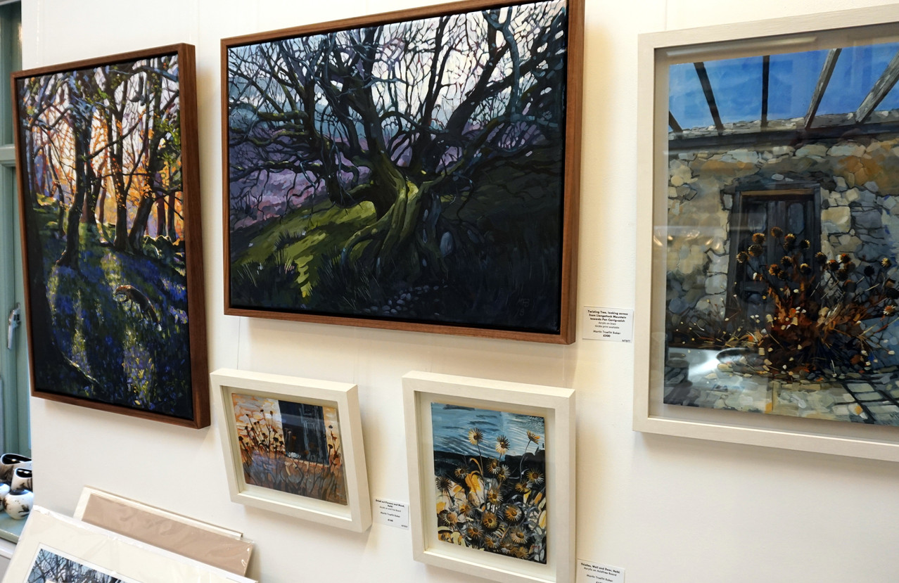Bluebell Fox, Twisting Tree and three small paintings from Halki.