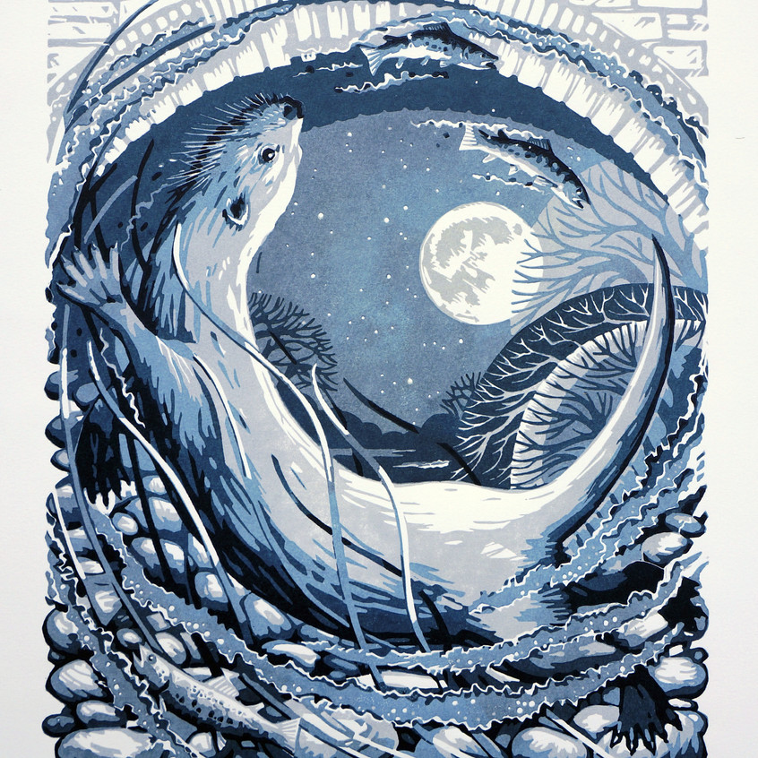 Otter Moon, Grey/Blue