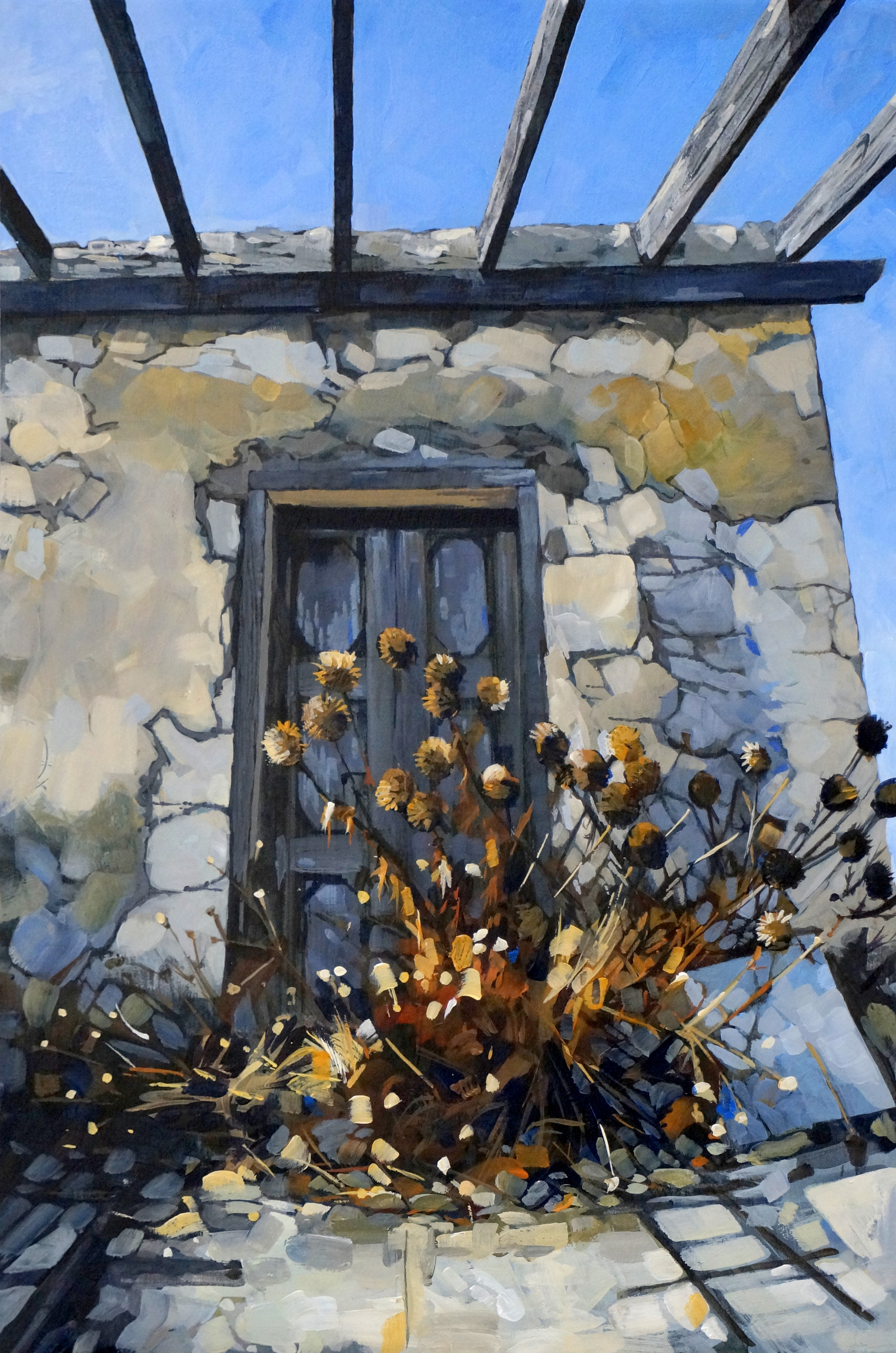 Halki doorway with thistles