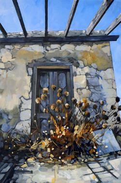 Halki doorway with thistles