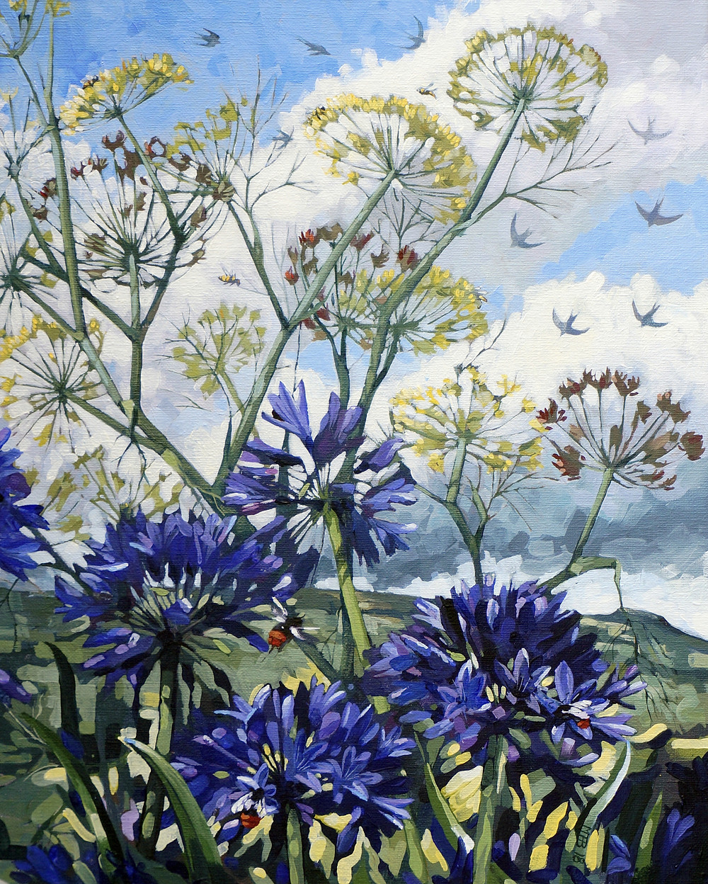 Agapanthus, fennel, birds and bees. Acrylic on linen.