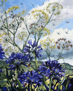 Agapanthus, fennel. birds and bees.