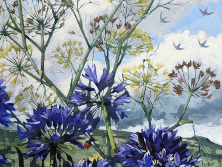 Agapanthus, fennel, birds and bees