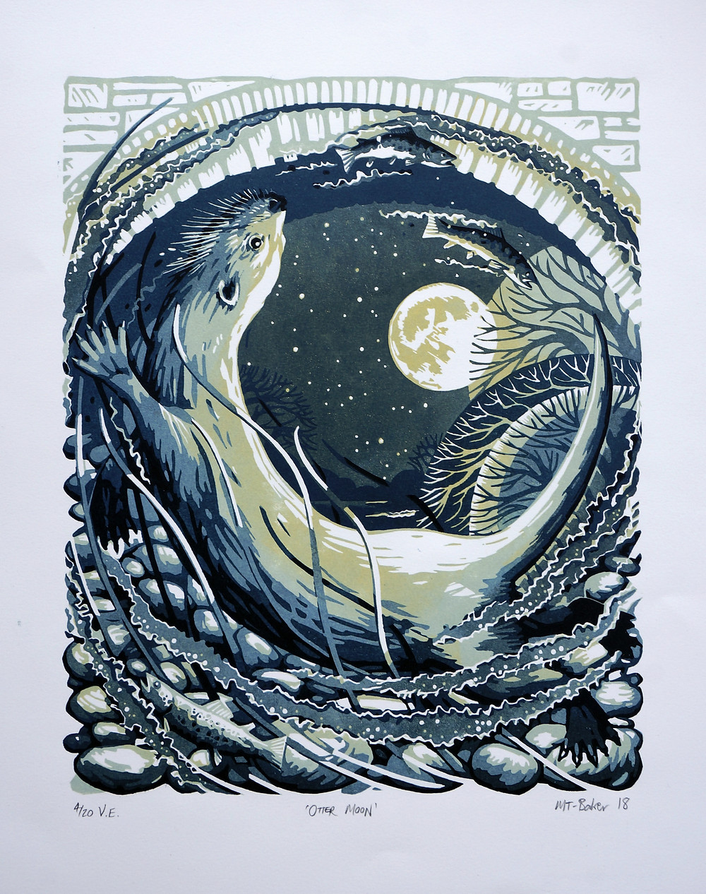 Otter Moon, linocut.