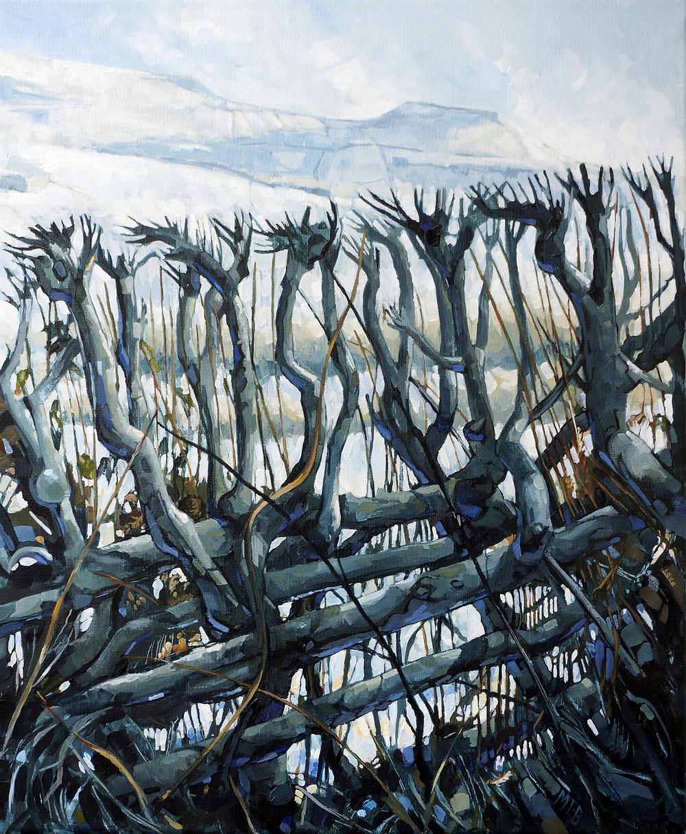 Winter Hedgerow, acrylic on linen canvas.