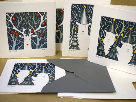 Christmas card lino prints
