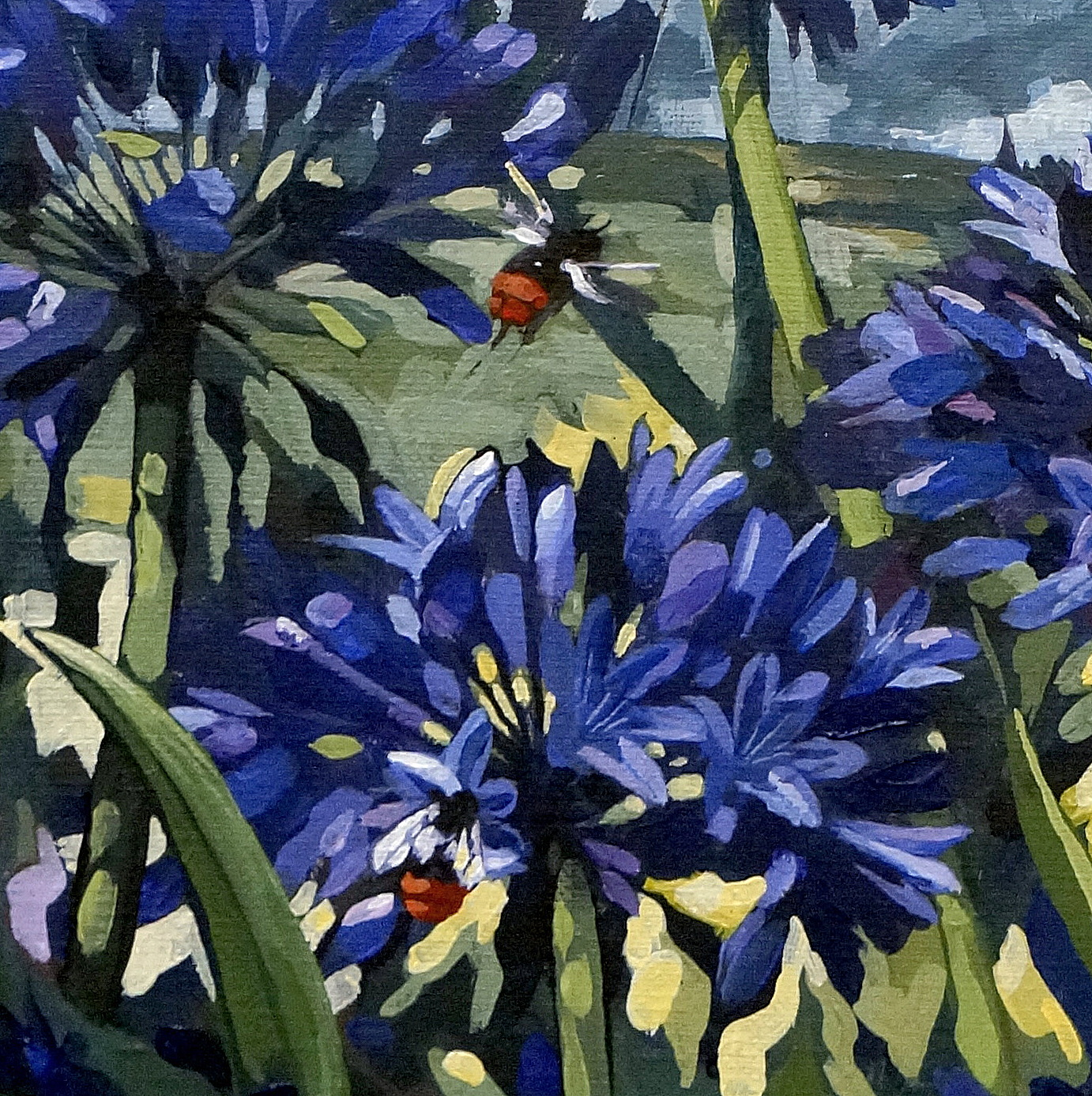 Agapanthus, fennel, birds and bees.
