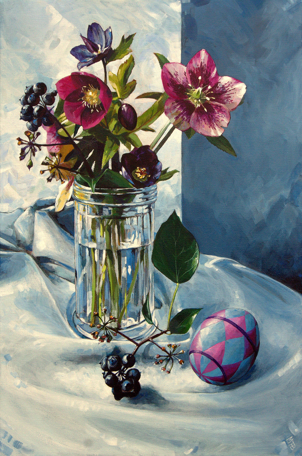 Hellebores, Ivy berries and an egg